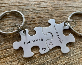 His Crazy Her Weirdo Puzzle Piece Key Chain Set  Hand Stamped Personalized His and Hers Set Couples gift Anniversary Gift