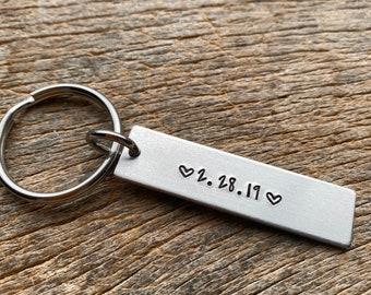 Anniversary Date ONLY Hand Stamped Light Weight  Petite Aluminum Rectangle  key chain Best Friend/Boyfriend/Girlfriend