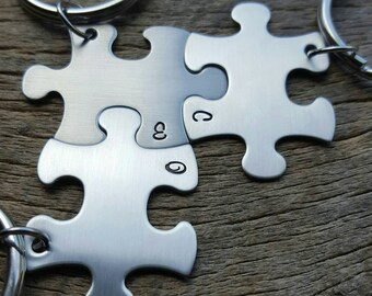 Personalized Initials  Puzzle Piece Keychains - Choose Your Quantity - Custom Initials