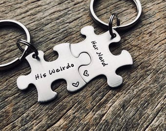 Customizable His Weirdo Her Nerd Puzzle Piece Key Chain Set  Hand Stamped Personalized His and Hers Set Couples gift Anniversary Gift