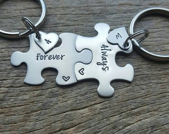Personalized  Customizable Forever And Always with Initial Hearts Puzzle Piece Key Chain Set Hand Stamped Couples Set His and Hers