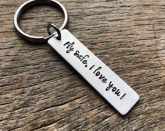 Customizable Hand Stamped Light Weight  Aluminum Rectangle  key chain Best Friend/Boyfriend/Girlfriend / Pilot