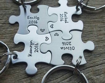 Customized Class of with Names Stainless Steel Puzzle Piece Key Chain Personalized