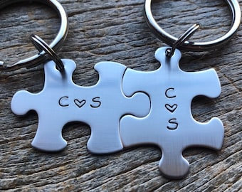 Couples Initial Puzzle Piece Key Chain Set Hand Stamped Couples Set His and Hers Husband / Wife /Boyfriend / Girlfriend / anniversary Gift