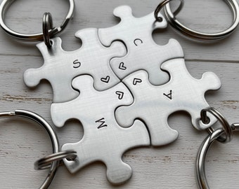 Customizable Puzzle Piece Key Chain Personalized with Initials best friends / College Moving/Family/ sorority Sisters / Christmas