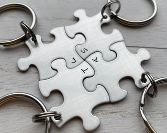 Puzzle Piece INITIALS ONLY  Key Chains - Choose Your Quantity - Bridesmaids - Best Friends - Hand Stamped