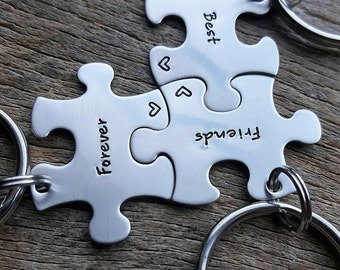 Customizable Best Friends Forever Hand Stamped Puzzle Piece  Set  of 3  Key chains