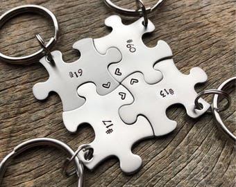 Customized Puzzle Piece Key Chain Personalized with Sports Number Soccer Baseball Softball  key chain Christmas Gift