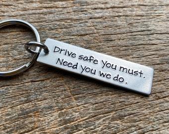 Drive Safe  Customizable Hand Stamped Light Weight  Aluminum Rectangle  key chain Best Friend/Boyfriend/Girlfriend / Inspirational