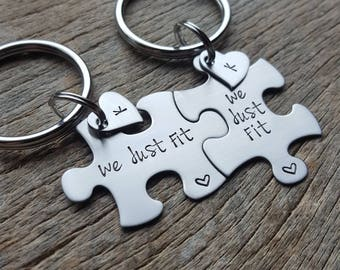 Personalized  Customizable We Just Fit and Name Hearts Puzzle Piece Key Chain Set Hand Stamped Couples Set His and Hers