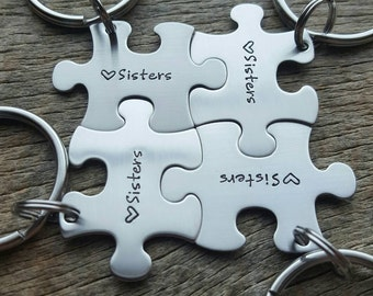 Customized Puzzle Piece Key Chain Personalized with Names  best friends / College Moving/Family/ sorority sisters key chain
