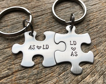Couples Custom Puzzle Piece Initials anniversary gift for Him or Her Personalized Wedding Boyfriend Girlfriend