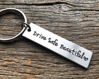 Drive Safe Beautiful Customizable Hand Stamped Light Weight  Aluminum Rectangle  key chain Best Friend/Boyfriend/Girlfriend /