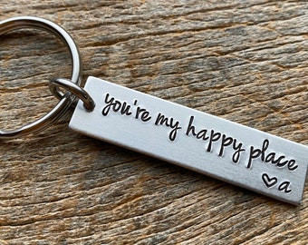 You're My Happy Place Customizable Hand Stamped Light Weight  Aluminum Rectangle  key chain Best Friend/Boyfriend/Girlfriend / Christmas