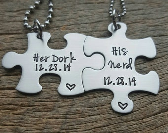 Customizable Her Dork His Nerd and Date Necklace Set - Hand Stamped Stainless Steel Wedding Anniversary Gift