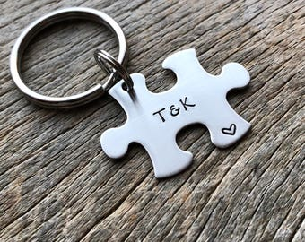 Customized Couples Puzzle Piece Key Chain Personalized with Initials best friends / College Moving/Family/ sorority sisters key chain