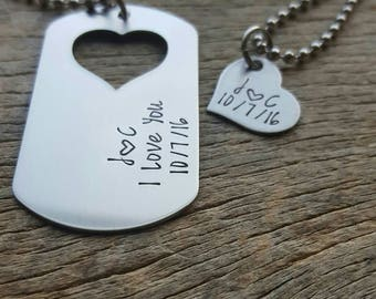 Customizable Couples Necklace Set Dog Tag with Heart Cutout  Hand Stamped with custom date His and Her Gift For Her/Him Anniversary Gift