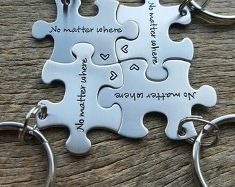 Customized No matter where long distance relationship/ family/ friends / College Moving Hand Stamped  Stainless Steel Puzzle Piece Key Chain