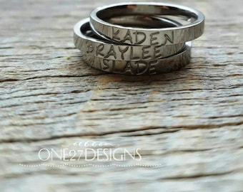 Hand Stamped Ring Name Ring Stacking Ring Mothers Ring Personalized  3mm Shiny  Stainless Steel comfort fit flat faced Mother's