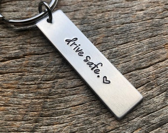 Drive Safe No Customization  Hand Stamped Light Weight  Aluminum Rectangle  key chain Best Friend/Boyfriend/Girlfriend / trucker