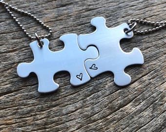 Puzzle Piece Necklaces Heart Hand Stamped  - Choose Your Quantity -Bridesmaids - Best Friends - Pick your image