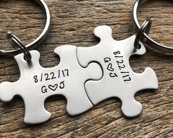 Customizable Initials and Date Puzzle Piece Key Chain Set Hand Stamped Couples Set His  and Hers