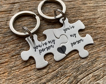 Ready To Ship Laser Engraved You're My Person stainless steel puzzle key chain set Gift for Him /Her /Anniversary/ Husband /Wife