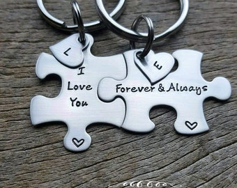 Personalized I Love You Forever & Always with Initial Heart Hand Stamped Puzzle Piece Key Chain Set couples Anniversary