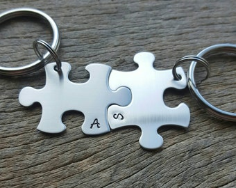 Customizable Puzzle Piece Key Chain Initials  Hand Stamped  -Bridesmaids - Best Friends