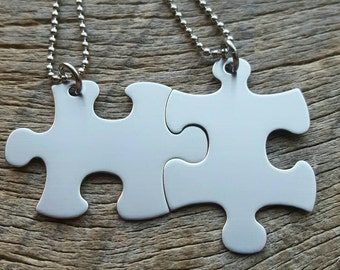 Puzzle piece Non-Customizable  Stainless Steel  Necklace Set - Best Friends  Hers His Anniversary