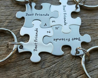 Customized best friends with initals Stainless Steel Puzzle Piece Key Chain Personalized