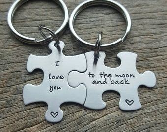 I Love You To The Moon And Back Puzzle Piece Key chain Set - Hand Stamped Stainless Steel