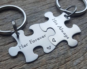 Couples Customizable Her Forever His Always  Puzzle Piece key  Set Her One Her Only anniversary gift for Him Personalized