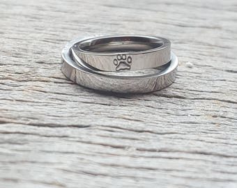 Hand Stamped Paw Print ONLY Ring Animal Ring Personalized  3mm Shiny  Stainless Steel comfort fit flat faced Pet lover