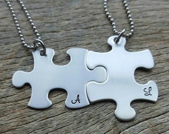 Puzzle Piece Initial Necklace Set  of Two Hand Stamped Custom Necklaces Couples Set