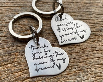 Ready To Ship Laser Engraved Thank You For Raising the man & woman of my dreams heart key chain Stainless Steel Mother of the Bride /Groom