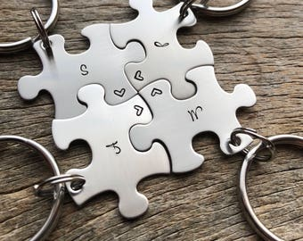 Customizable  Puzzle Piece Key Chain Personalized with Initials best friends/College/Family/sorority sisters key chain
