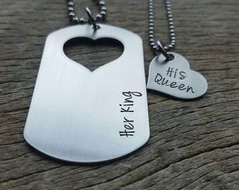 Couples Necklace Set Her King  His Queen Dog Tag with Heart Cutout  Hand Stamped  His and Her Necklace set Anniversary/Birthday  Gift