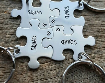 Customized Cheerleader Squad Puzzle Piece Key Chain Personalized  best friends sorority sisters key chain