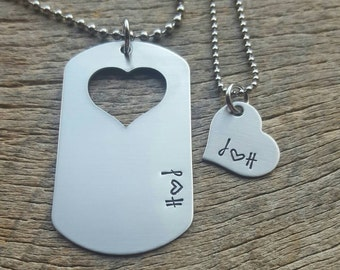 Customizable Couples Initals Necklace Set Hand Stamped Dog Tag and Heart Necklace Set His and Hers  Military Spouse Anniversary