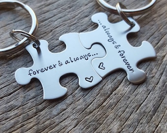 Customizable Forever And Always Puzzle Piece Key chain Set - Hand Stamped Stainless Steel Couples set/ Best Friends anniversary