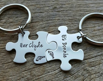 Couples Custom His Bonnie Her Clyde Puzzle Piece key Chain Set Hers and His  anniversary gift for Him Personalized