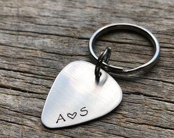 Personalized Initials Only Guitar Pick Key Chain Hand Stamped Customizable Musician Anniversary Gift Graduation Gift for Him