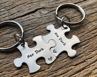 His Dork Her Dork Puzzle Piece Key Chain Set  Hand Stamped Personalized His and Hers Set Couples gift Anniversary Gift