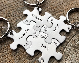 Customized Graduation Puzzle Piece with Names Stainless Steel Puzzle Piece Key Chain Personalized Best Friends / College / Class of 2019