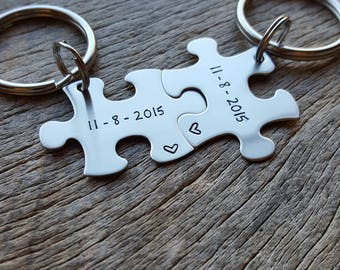 Customized Puzzle Piece Key Chain Personalized with Date ONLY best friends / College Moving/Family/ sorority sisters key chain Wedding Gift