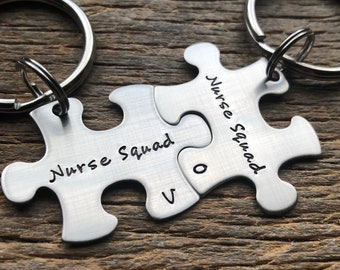 Customized Best Friends Nurse Puzzle Piece Key Chain with Initials  Personalized sorority sisters key chain Student RN LPN CNA