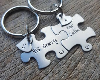 His Crazy Her Calm With Initial Hearts Couples Custom Puzzle Piece key Chain Set   anniversary gift for Him Personalized