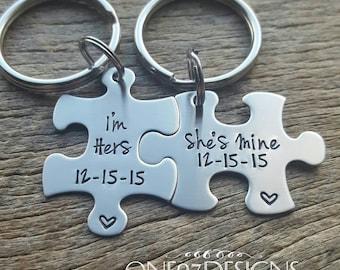 Customizable Puzzle Piece Key Chain Set I'm Hers She's Mine LGBT with Date Hand Stamped Custom Couples Set