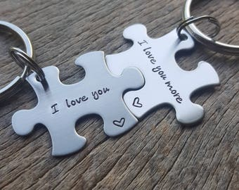 Puzzle Piece Key Chain Set I Love You I Love You More Hand Stamped Couples Set His and Hers